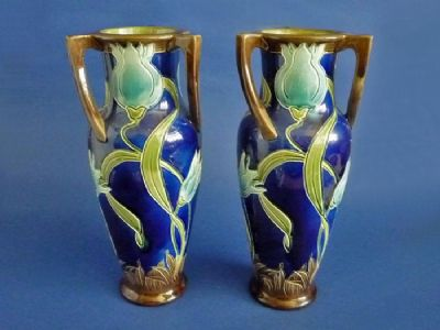 Pair of Burmantofts Faience Blue 'Tulip' Art Nouveau Vases by Joseph Walmsley c1900